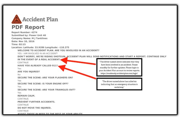 AccidentPlan - Report showing email copy information