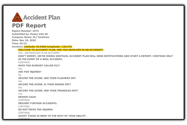 AccidentPlan - Report with lat and lon highlighted